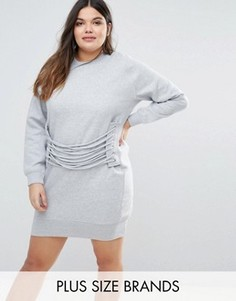 Платье-футболка с люверсами и шнуровкой Missguided Plus - Серый
