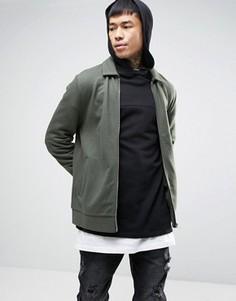 Трикотажная куртка Харрингтон цвета хаки ASOS - Зеленый