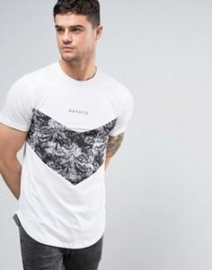 Белая футболка с черным цветочным принтом Devote - Белый