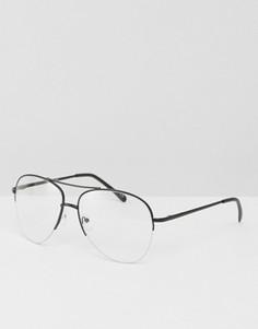Очки-авиаторы в металлической оправе с прозрачными стеклами ASOS Geeky - Черный