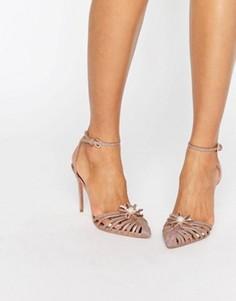 Туфли на каблуке с ремешками и золотистой отделкой Ted Baker Zhine - Золотой
