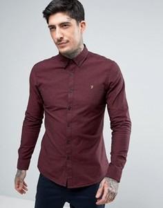 Бордовая узкая оксфордская рубашка с добавлением черных нитей Farah - Красный