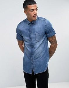 Джинсовая рубашка классического кроя с короткими рукавами Diesel D-KENDALE - Синий