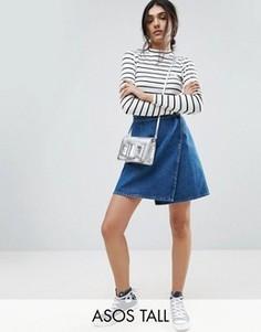 Выбеленная синяя джинсовая юбка с запахом ASOS TALL - Синий