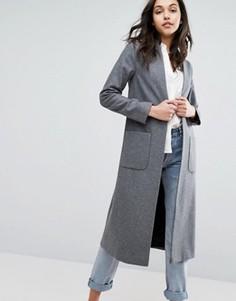 Легкое длинное пальто с добавлением шерсти Helene Berman - Серый