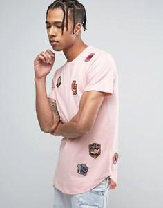 Розовая футболка с принтом нашивок Criminal Damage - Розовый