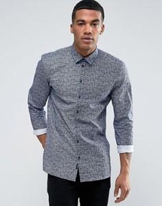 Узкая рубашка с мелким цветочным принтом Minimum Lonnie - Синий