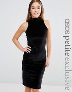 Облегающее бархатное платье миди для миниатюрных с высоким воротом ASOS PETITE - Черный