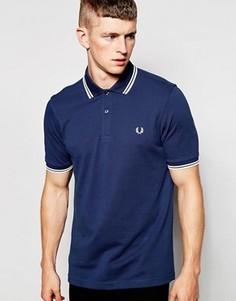 Приталенная синяя футболка-поло с двойным кантом Fred Perry - Синий