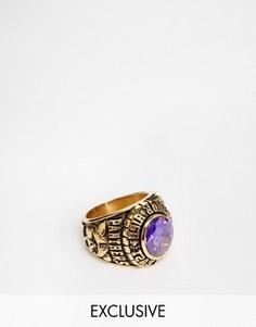 Кольцо в университетском стиле с фиолетовым камнем Reclaimed Vintage - Золотой