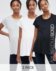 3 футболки для беременных с круглым вырезом ASOS Maternity - СКИДКА 20 - Мульти
