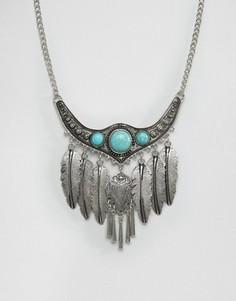 Броское фестивальное ожерелье с листиками Ashiana - Золотой