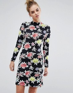 Трикотажное платье с розами House Of Holland - Черный
