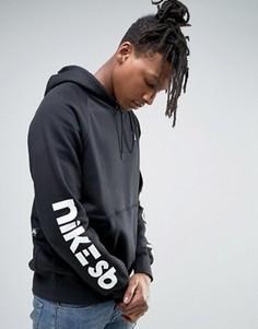 Худи черного цвета с принтом на рукавах Nike SB Icon 837934-010 - Черный
