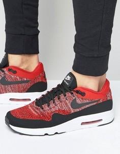 Красные кроссовки с трикотажным верхом Nike Air Max 1 Ultra 2.0 Flyknit 875942-600 - Красный