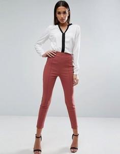 Укороченные зауженные брюки с завышенной талией ASOS - Розовый