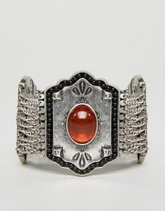 Массивный фестивальный браслет с камнями Nylon - Серебряный