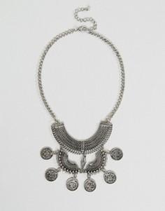 Броское ожерелье с кисточкой и монетками Nylon - Серебряный