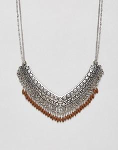 Фестивальное ожерелье с отделкой в виде бахромы Nylon - Серебряный
