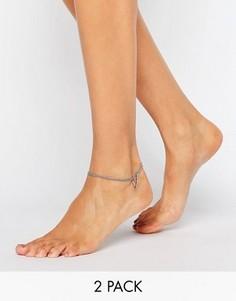 2 браслета на ногу с треугольниками ASOS - Серебряный