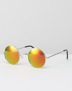 Круглые солнцезащитные очки с желтыми стеклами Jeepers Peepers - Серебряный