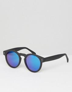 Круглые солнцезащитные очки в черной оправе с синими стеклами Komono Clement - Черный