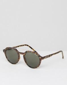 Круглые солнцезащитные очки в черепаховой оправе Komono Harper - Коричневый
