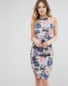 Платье с цветочным принтом и спиной-борцовкой Paper Dolls - Серый