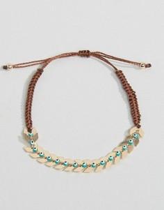 Нейлоновый браслет с шевронным дизайном и тканевой завязкой - Золотой Nylon