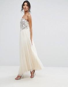 Платье-бандо макси с кружевом Little Mistress - Бежевый