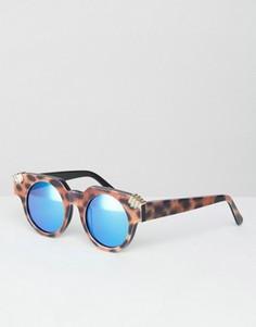 Круглые солнцезащитные очки с синими зеркальными стеклами House of Holland Fister - Коричневый