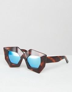 Солнцезащитные очки с синими зеркальными стеклами House of Holland Superhero - Черный