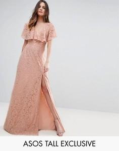 Кружевное платье макси с открытой спиной ASOS TALL - Фиолетовый