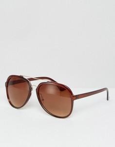 Солнцезащитные очки-авиаторы с металлической планкой и переносицей ASOS - Черный