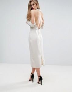Платье миди со свободным воротом и открытой спиной ASOS - Серебряный