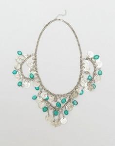 Ожерелье с медальоном и кисточками Raga Coin - Серебряный