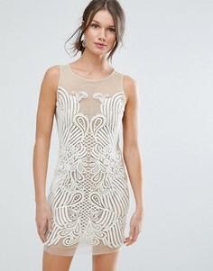 Платье мини с вышивкой ASOS - Бежевый