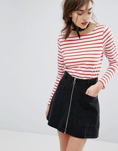 People Tree Organic Breton Stripe Long Sleeve T-Shirt - Красный
