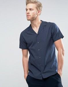 Темно-синяя рубашка зауженного кроя в клетку с короткими рукавами и отложным воротником HUGO by Hugo Boss Endo - Темно-синий