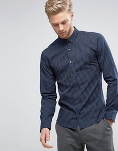 3 узких темно-синих рубашки в клетку HUGO by Hugo Boss Ero - Темно-синий