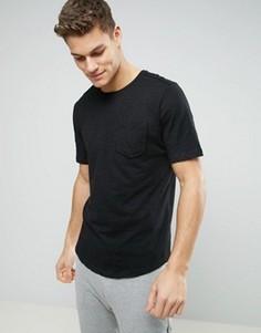 Удлиненная футболка с карманом и асимметричным краем Sisley - Черный