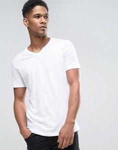Меланжевая футболка с V-образным вырезом Sisley - Белый