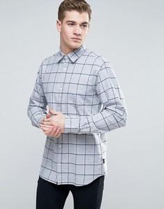 Узкая клетчатая рубашка с начесом Jack & Jones Originals - Серый