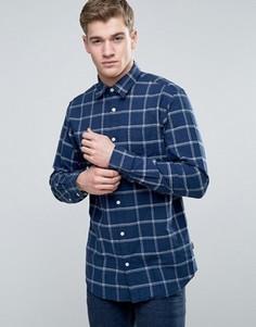 Узкая клетчатая рубашка с начесом Jack & Jones Originals - Темно-синий