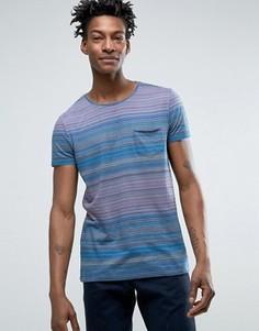 Синяя футболка стандартного кроя в полоску с одним карманом BOSS Orange by Hugo Boss - Синий