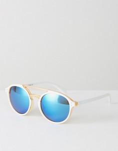 Круглые солнцезащитные очки с зеркальными линзами 7X - Золотой