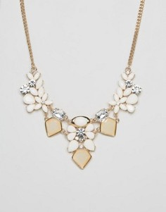 Броское ожерелье с камнями Ruby Rocks - Белый