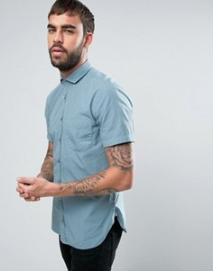 Голубая зауженная рубашка с коротким рукавом BOSS Orange by Hugo Boss - Синий