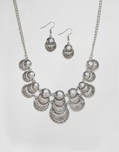 Набор из ожерелья и сережек Ruby Rocks - Серебряный