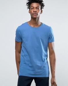 Синяя футболка классического кроя с необработанным краем BOSS Orange by Hugo Boss - Синий